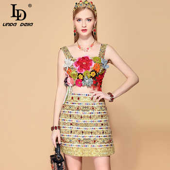 LD LINDA DELLA Summer Fashion Skirts 2 Two Pieces Set Multicolor Floral Appliques Tanks and Women\'s Mini Skirt Sets Ladys Suits - SALE ITEM - Category 🛒 Women\'s Clothing