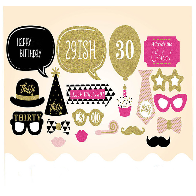 20Pieces Photo Booth Prop Man Woman Style 30 Years Moustache Glass Mask 30th Birthday Gift Funny