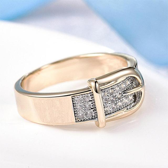 Belt Shaped Zircon Embedded Ring