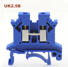 цена на 50pcs blue UK2.5B Din Rail Universal Terminal Block Screw Type wire cable electrical terminal block connector copper UK-2.5B 32A
