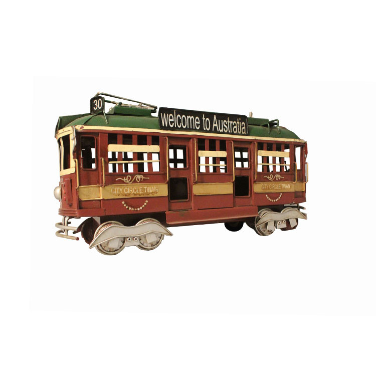 Métal moulé sous pression modèle fer artisanat Style européen Bus voiture modèle rétro Tram décoration fenêtre Bar affichage photographie accessoires