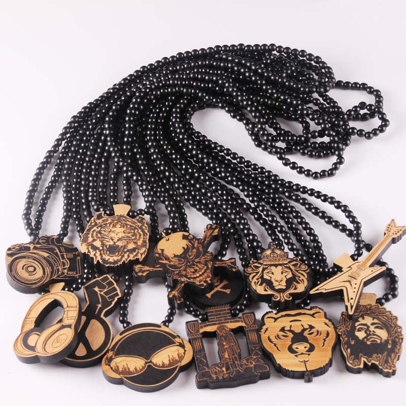 Free shipping Crown lion Pendant Good Wood Hip-Hop Wooden Fashion Rosary Necklace Wholesale more styles rock necklace