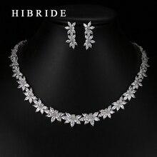 HIBRIDE Fashion Flower Shape Cubic Zirconia PendantsNecklace Earrings Girl Bridal Wedding Jewelry Sets For Gifts N-72