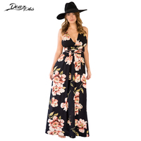 Women Sexy Deep V Neck Low Cut Bohemial Maxi Dress 2017 Backless Split Lace Up Beach