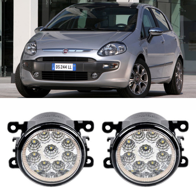 EEMRKE Car Styling For Fiat PUNTO EVO (199) 2010 2011 2012 9-Pieces Leds Fog Lights H11 H8 12V 55W LED Fog Head Lamp for fiat punto fiat 500 stilo panda small hole ventilate wear resistance pu leather front