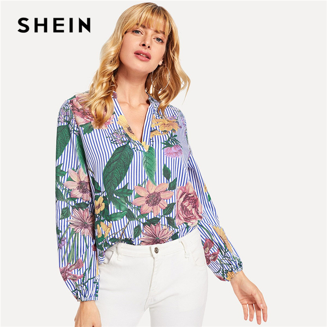 37ca57d035 SHEIN Blue Vacation Boho Bohemian Beach V-Cut Floral Print Long Sleeve  Striped Blouse New Autumn Holiday Women Blouses And Tops