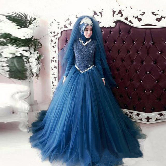 Elegant Dark Blue Long Sleeve Lace Muslim Wedding Dresses Plus