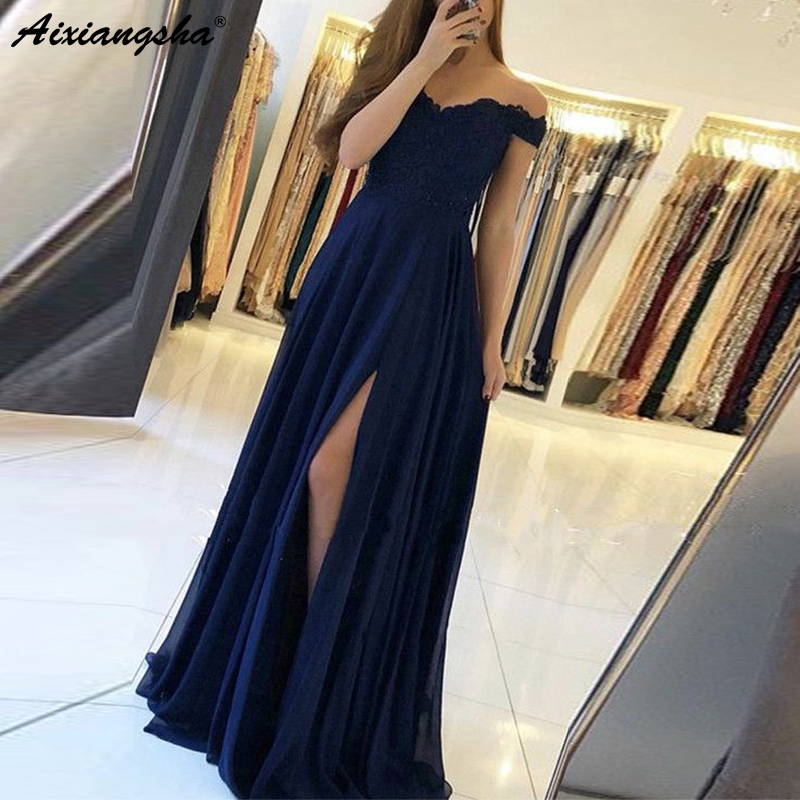 Navy Blue 2019   Prom     Dresses   Off the Shoulder A-Line Lace Side Slit Sweetheart Chiffon Long   Prom   Gown Evening Party   Dress