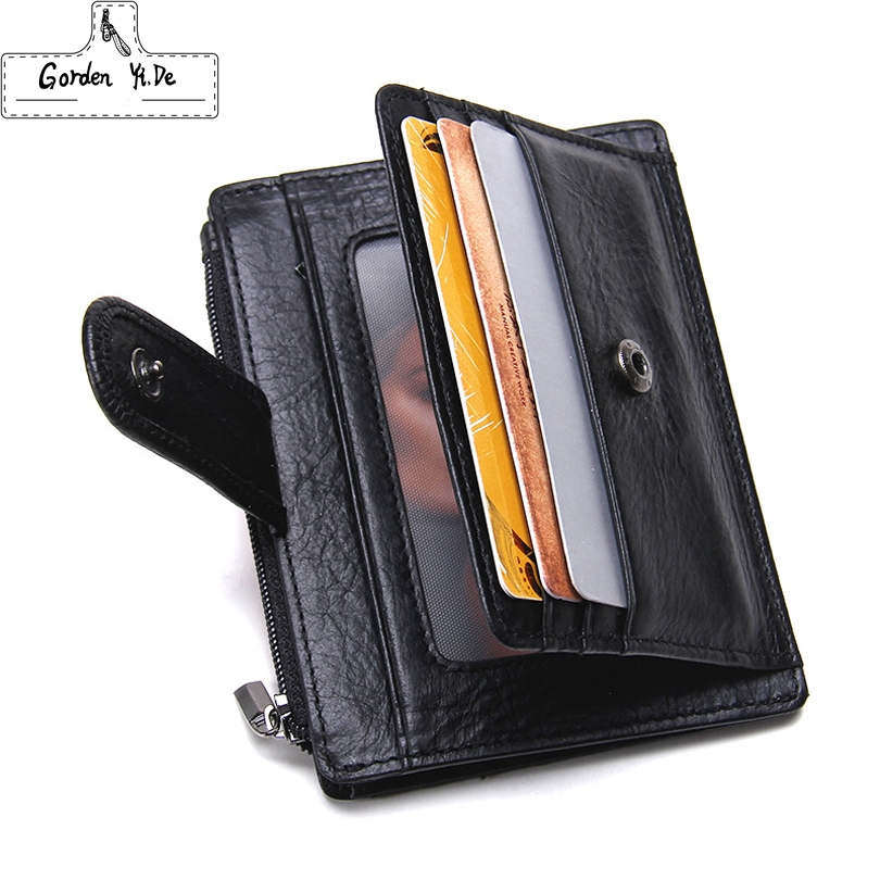 Thin Genuine Leather Men Wallet Small Casual Wallets Purse Card Holder Coin Mini Bags Top Quality