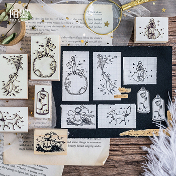 Little Prince Stamps Wood Clear Stamps DIY Scrapbooking Decoration Seal Rose Wood Seal Stationery Kawaii