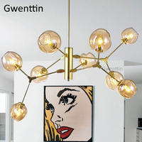 Modern Magic Bean Glass Ball Chandelier Gold Nordic Led Hanging Lamp Lindsey Design Light for Dining Room Loft Industrial Decor