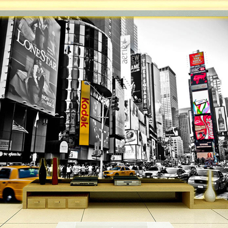 Buy custom photo wallpaper black and for Black and white new york mural wallpaper