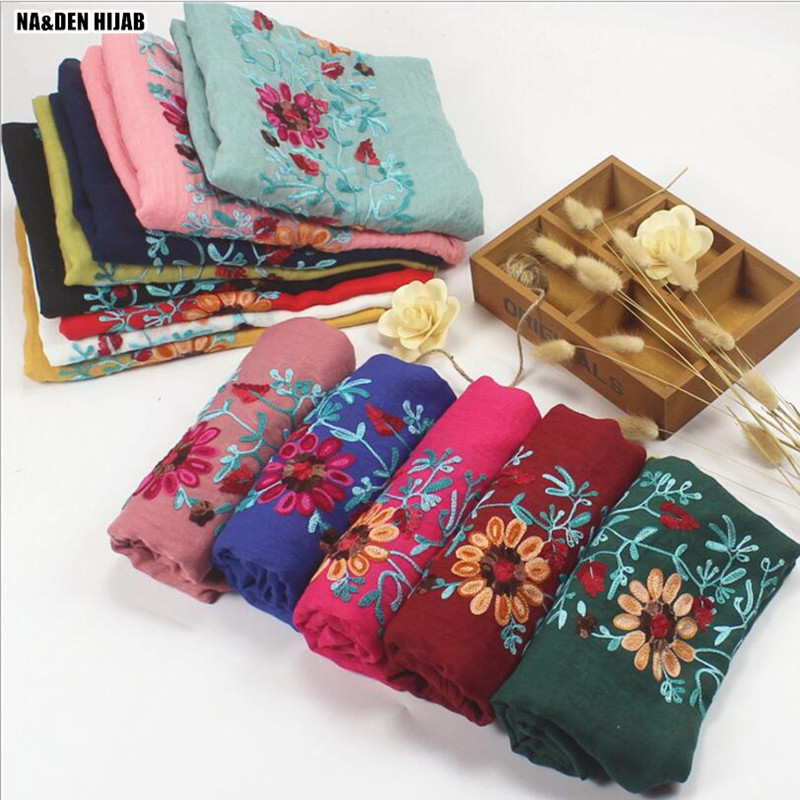 Embroidery flower print solid plain color scarf viscose cotton shawl Scarf Muslim hijabs scarf independence packing