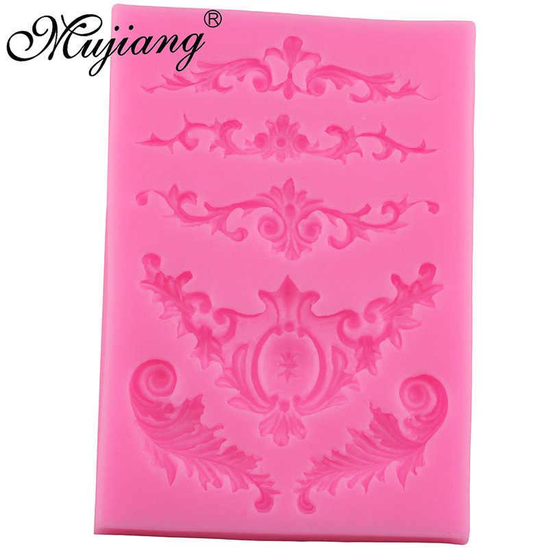 Mujiang свитки барокко перо Корона угловой силиконовая форма помадка Gumpaste Полимерная глина шоколадные формы инструменты для украшения торта