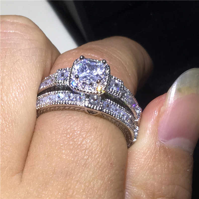 Vecalon 2018 винтажный набор колец с принцессой 5A Циркон Cz стерлингового серебра 925 обручальные Обручальные кольца для женщин свадебный подарок