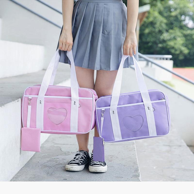 2019 Women Handbags Pink Teenage Heart Preppy Style Travel School Bags Canvas Large Capacity Casual Organizer Handbags Tote