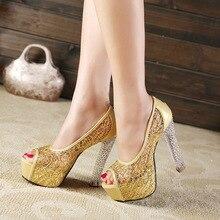 RUIDENG Women Wedding Pumps Super High Heel 13.5 cm Peep Toe Wweet Sexy Party Shoes Lady Platform 4.5 cm Crystal Square Heels цены онлайн