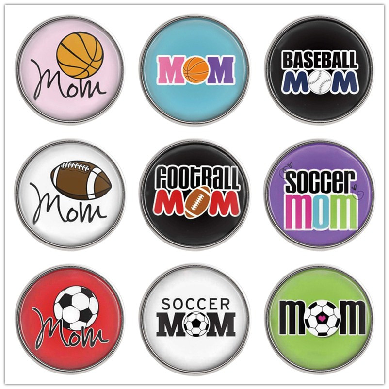 10pcs/lot Glass Printed Mom Sport Snap Button Jewelry 18mm Partnerbeads Wholesale Girl Balls Snap Jewelry Bracelet Charm C1034 image