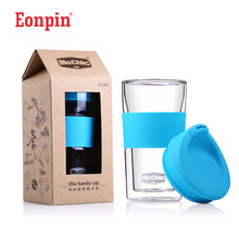 Eonpin Double Wall Coffee Mug My Bottles Water Cup Tumbler Glass Cups with Lid Tea Filter Office Drinking Coffee Mugs Water Cups(China)