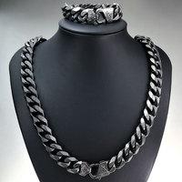 N396B256 15.7mm Necklace + Bracelet Retro Freemasonry Masonic Mason Chain Heavy mens 316L Stainless Steel