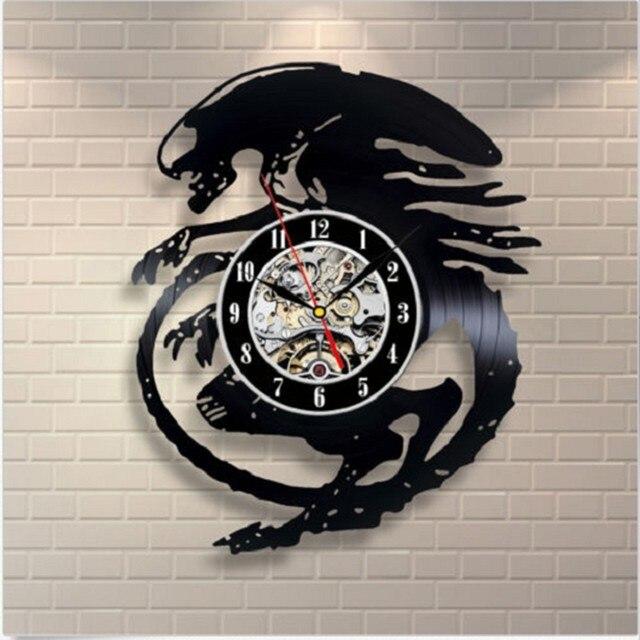 Hitam CD Rekam Jam Eropa Antik Vinyl Jam Dinding Klasik Rumah Besar Dekorasi  Jam Dinding Quartz ef96f04525