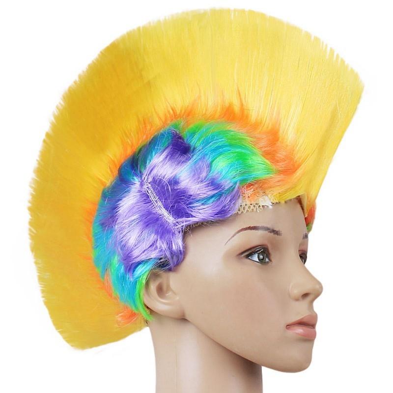 Hot Rainbow Mohawk Hair Wig Fancy Costume Punk Rock Wigs Halloween Cosplay Party 13