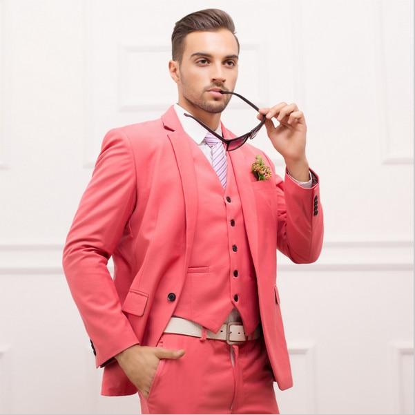 d341191ac9c Latest Coat Pant Designs Hot Pink Wedding Suits for Men Jacket Slim Fit  Skinny Tuxedo Custom