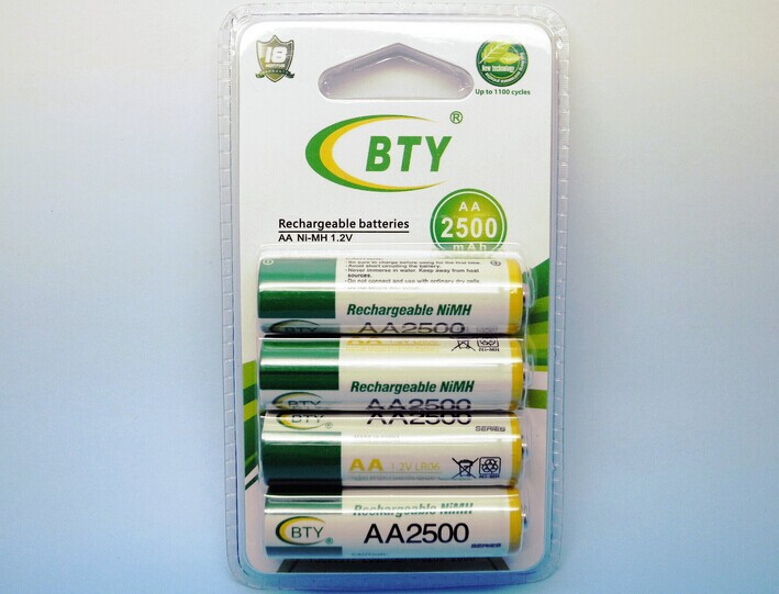 High Quanlity 12 x 2500 mah BTY 1.2 V AA Ni - MH Rechargeable free shipping