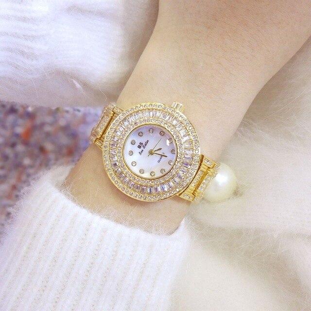2017 Luxury Brand Quartz Watch Women Gold Steel Bracelet Watch 30M waterproof Rh