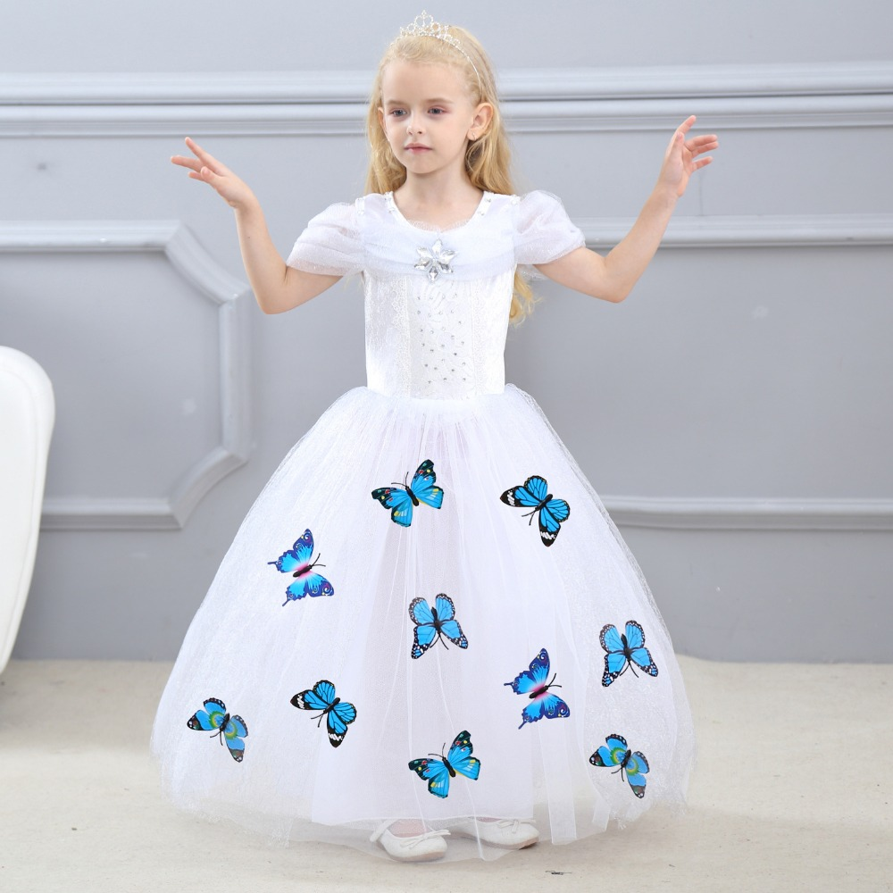 New Girls Party Dresses Kids Christmas Princess Dresses for Girls Cinderella Aurora Belle Cosplay Costume White Wedding Dresses new cinderella princess girl dress kids christmas dresses costume for girls party crown necklace fantasia dress kids clothes