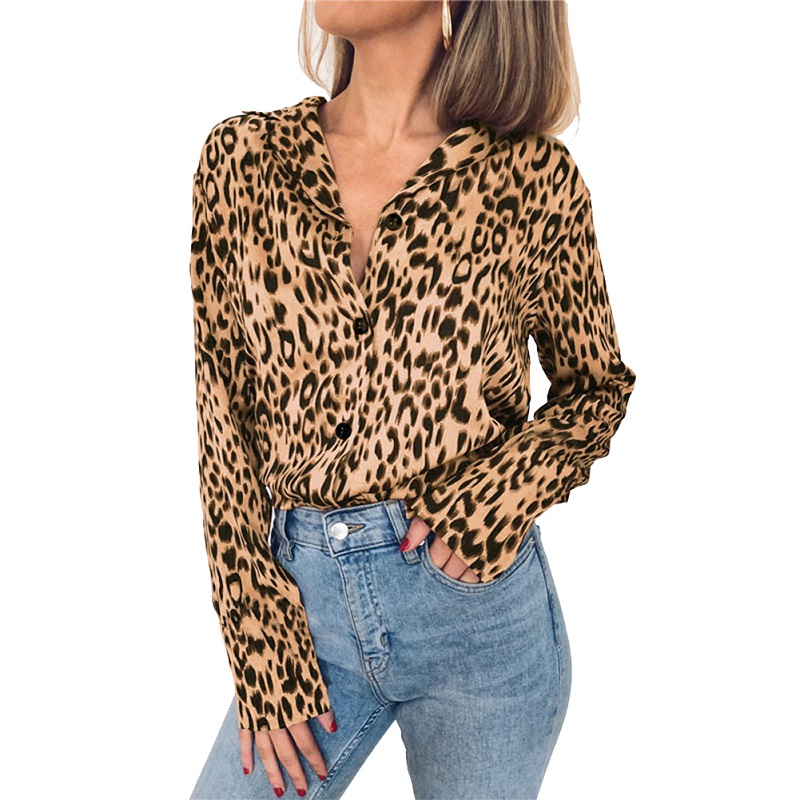 2019 V Neck Winter Plus Size Loose Leopard   Blouse   Women Long Sleeve Casual Animal Print   Blouse     Shirt   Women Clothing