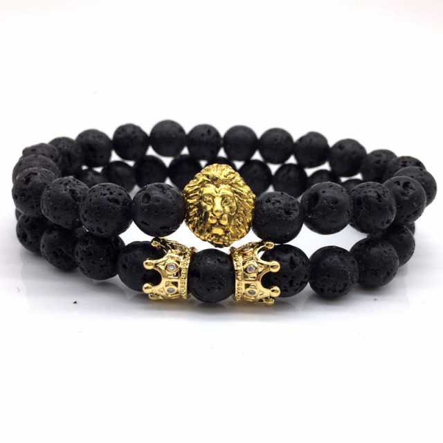 fd6f94eb08 2pcs/set Classic Lion Head & Crown Bracelet Men Pave CZ Natural Lava Stone  Beaded Bracelets For Men Women Couple Jewelry Gift