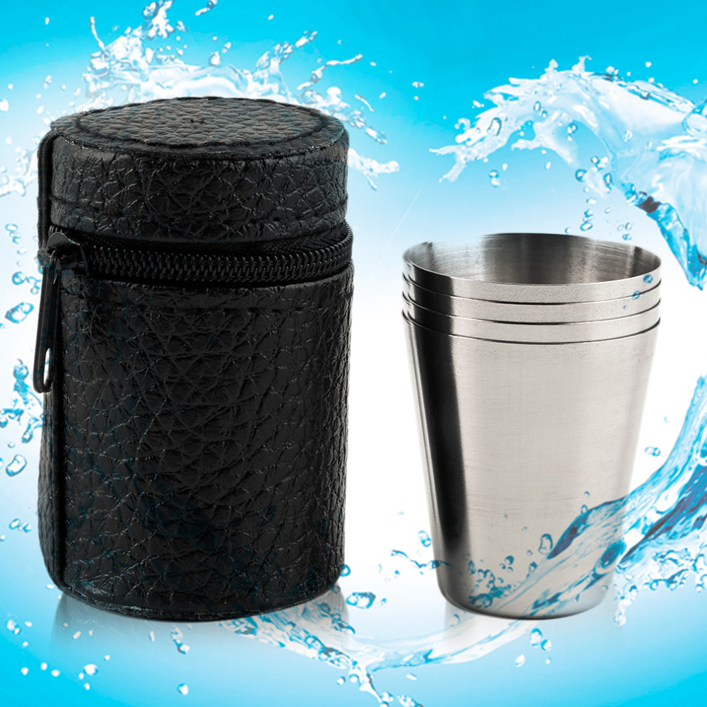 1 Set Of 4 Stainless Steel Camping Cup Mug Drinking Coffee Tea With Case For Outdoor New Arrival