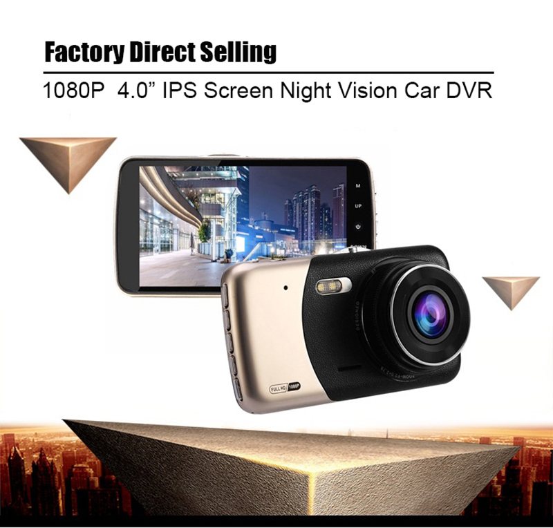 1080P 4.0 Screen Car DVR Dual Lens Rear Camera Dash Camera Night Vision Video Recoder Track Deviation Parking Monitor G Senor