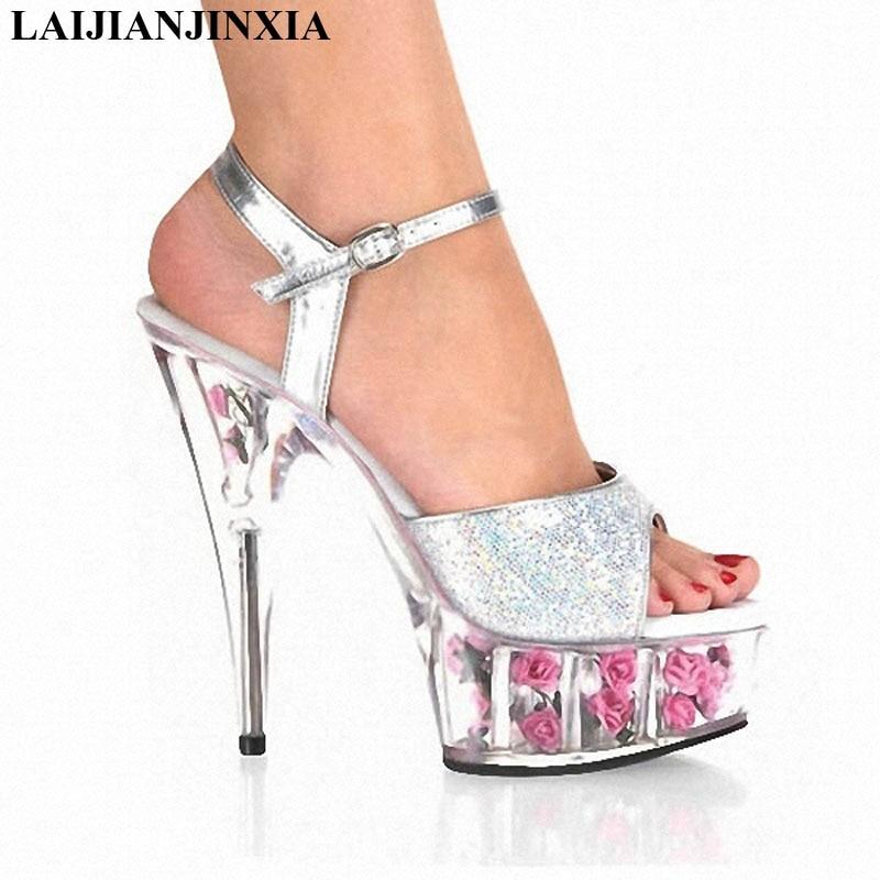 Laijianjinxia Sexy 15 Cm Hoge Hakken Sandalen Nachtclub Dans Paaldansen Schoenen Model Hoge Hakken Damesschoenen K-181 Forma Elegante Dansschoenen