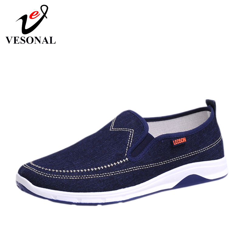 VESONAL 2019 Summer Canvas Sneakers Men Shoes Loafers Moccasins Lightweight Slip-On Comfortable Light Male Shoes Casual Driving