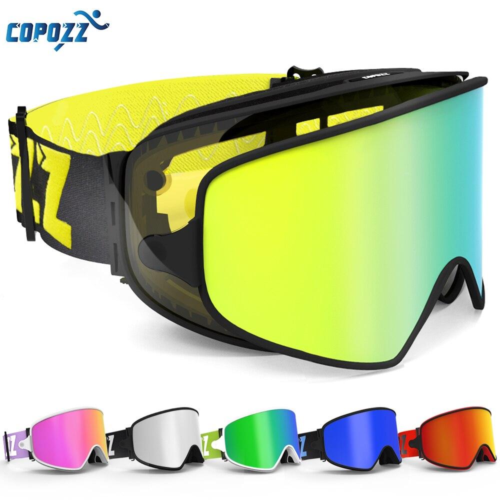 COPOZZ Ski Brille 2 in 1 mit Magnetische Dual-use-Objektiv für Nacht Skifahren Anti-nebel UV400 Snowboard brille Männer Frauen Ski Brille