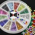 24 unids 12 Colores 3mm Glitters Acrílico Nail Salon de Arte Pegatinas Consejos de BRICOLAJE Decoraciones Con Rueda 52R8