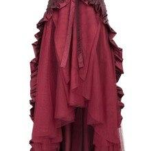 b337e86601 chic women pleated high low skirt Victorian Steampunk Gothic Punk Ruffled Bustle  Long Skirt Retro Lace