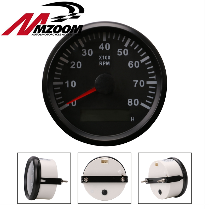 Universal Boat Tachometer Marine Tacho Meter Gauge LCD Hourmeter 12V/24V 8000 RPM 85mm Plastic Boat Tachometer kus marine tachometer car truck boat tacho gauge with lcd digital hourmeter waterproof 0 6000 rpm speed ration 0 5 250 85mm