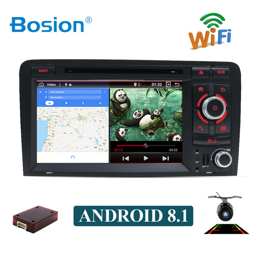Bosion 7 pouces HD 2 Din Android 8.1 Octa 8 Core autoradio stéréo lecteur DVD multimédia Navigation GPS pour Audi A3 8 P 2003-2011