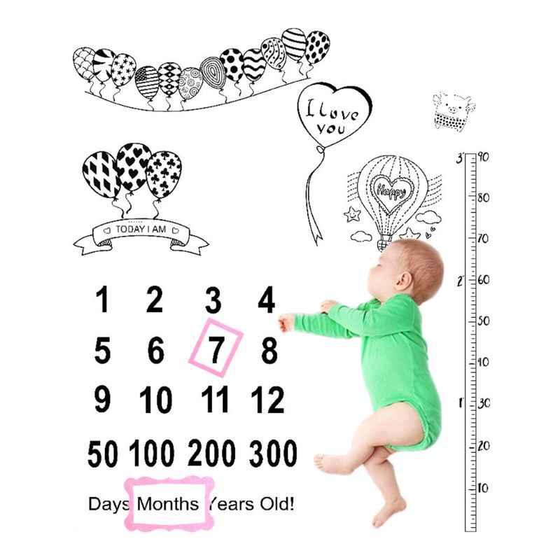 2 unids/set recién nacido bebé crecimiento hito celebración manta accesorios de fondo de fotografía accesorios de tela marco de foto