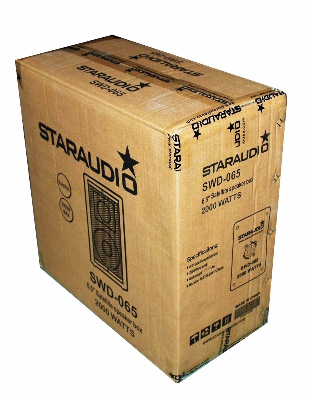STARAUDIO SWD-065 2 Pcs 2000 W 6.5″ Club DJ Stage Wooden Speakers with 4CH Amplifier Audio Powered Mixer 2 Cables 2 Stands