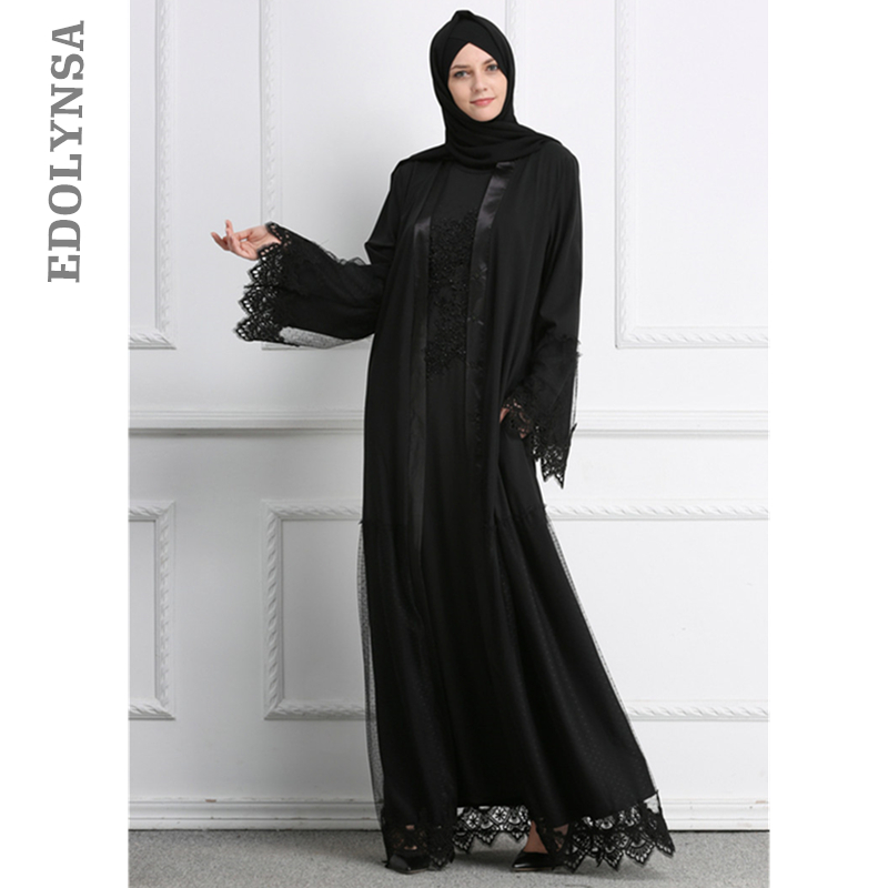 00463069ed Abaya Kimono Black Lace Front Open Abaya 2019 Maxi Kimono Dress Moroccan  Islamic Turkish Robe Fashion Islam Muslim Clothing D518