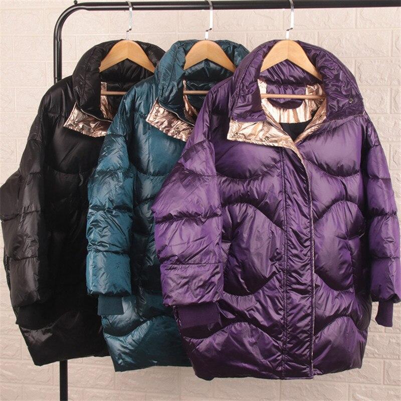 Autumn Winter Women   Down   Jacket Warm Thicken Duck   Down     Coat   Parka Female Long Sleeve Midi Long   Coats   Outwears Plus Size AB1544