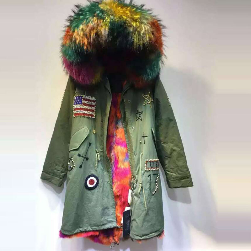 Army green short jacket Fashion Flag of America Beading faux fur inside winter coat raccoon fur hooded