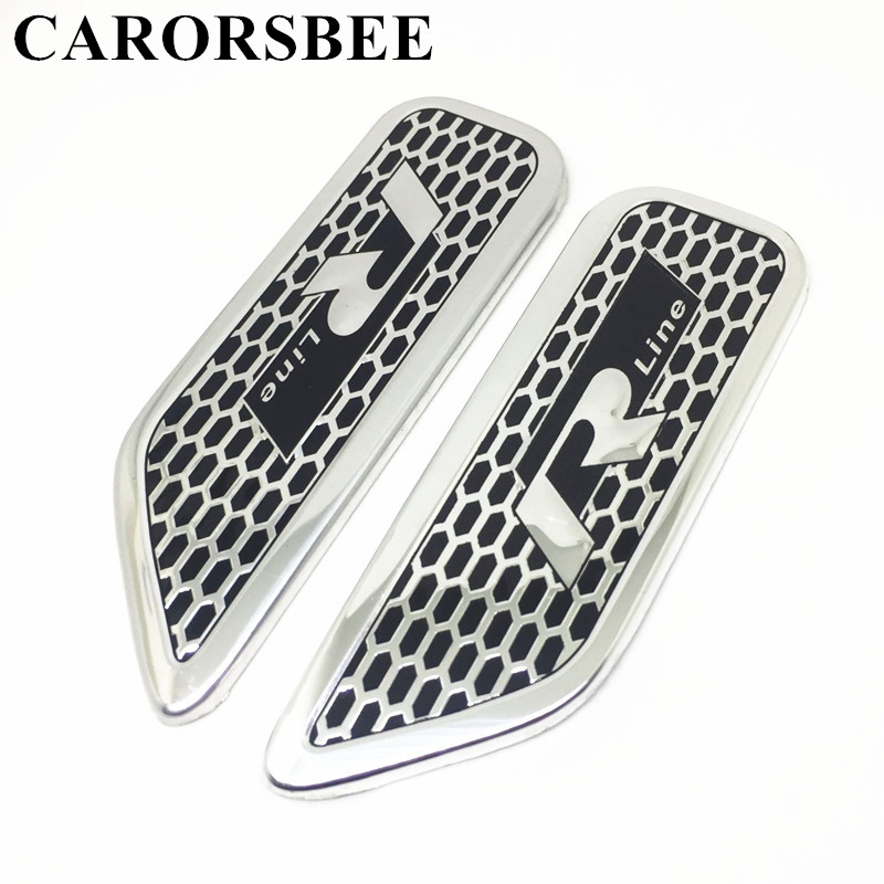 CARORSBEE 1 Pair Aluminium alloy Black R line Rline Emblem Badge Car sticker Auto Body Door Side Racing stickers car styling aluminium alloy office worker id badge holder with detachable stripe lanyard strap