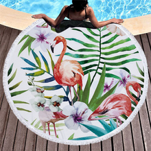 Flamingo Round Beach Towel Microfiber Towels Bathroom Tassel Beach Towels For Adults Large Travel Towel Beach Toalla De Playa