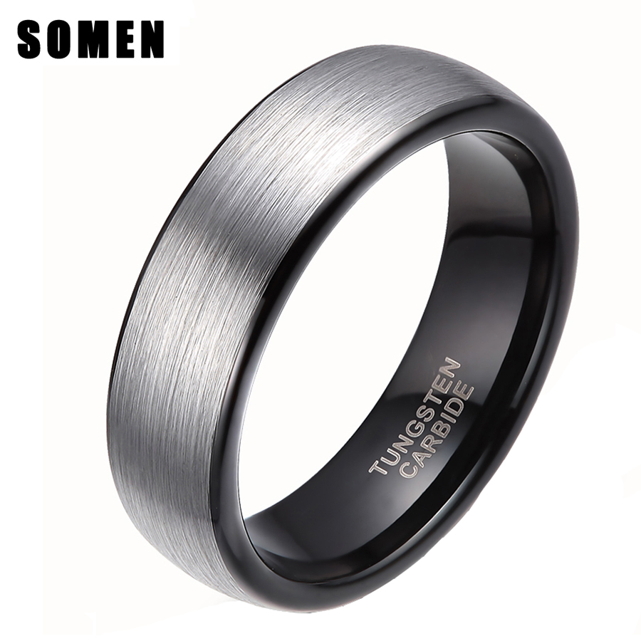 Somen 6mm Hitam Inlay Brushed Perak Tungsten Carbide Wedding Rings Band Untuk Wanita Engagement Cincin Perhiasan bague femme