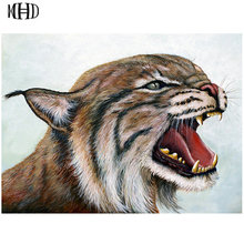 New 3D DIY Diamond Painting Animal 5D Diamond Embroidered Full Square & Round Rhinestone Crystal Mosaic Angry Big Cat 40x50cm